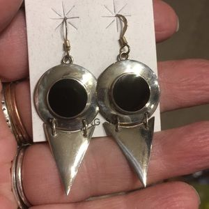 Sterling silver with black onyx earrings